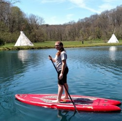 Paddle Boarding on the pond